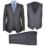 VIDAXL tridelna moška obleka, siva