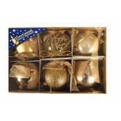 EVERGREEN božične bunkice mix Luxus, zlate, 8 cm, 6 kos