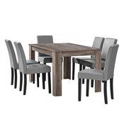 [en.casa]® dizajnerska kuhinjska miza Nora + stol (6 kosov), hrast-temno rjava-svetlo siva