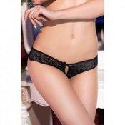 CR 4216 Black Lace Panty - crne gacice izvezene cipkastim detaljima, s intimnim prorezom