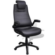 vidaXL Podesivi uredski stolac od umjetne kože - crni