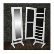 Stojeci ormaric za nakit s bijelom ogledalom za garderobu