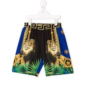 Young Versace-colour-block print swim shorts-kids-Blue