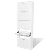 VIDAXL beli leseni kabinet za čevlje s 5 predali