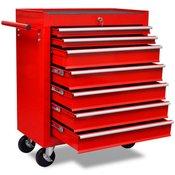 VIDAXL delavniški voziček za shranjevanje orodja s 7 predali, rdeč