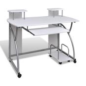 VIDAXL mobilna računalniška miza z izvlečno polico, bela