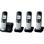 Panasonic Brezžični analogni telefon Panasonic KX-TG6824 Quattro avtomatski odzivnik, prostoročno telefoniranje, črne, srebrne barve