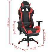 VIDAXL pisarniški stol s športnim sedežem in oporo za noge, rdeč