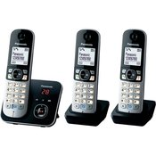 Panasonic Brezžični analogni telefon Panasonic KX-TG6823 Trio telefonski odzivnik, prostoročno telefoniranje, črne, srebrne barve
