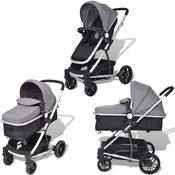 VIDAXL 2-v-1 otroški voziček, siv-črn