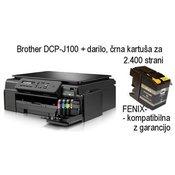 BROTHER DCP-J100 (DCPJ100YJ1) + darilo (kartuša črna za 2.400 strani - nadomestna Fenix) (Brother DCPJ100+LC52)