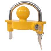 vidaXL Ključavnica za prikolico z 2 ključema jeklo in aluminij rumena
