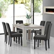 [en.casa] jedilna miza + 6 oblazinjenih stolov s tkanino (140x90cm), svetli hrast-temno siva