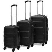 VIDAXL komplet trdih potovalnih kovčkov (tri delni), črn