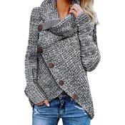 Ženski pulover z gumbi LOVIE, siv