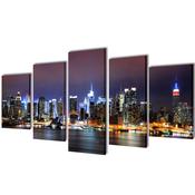 vidaXL Set platen s printom New York ponoči 200 x 100 cm