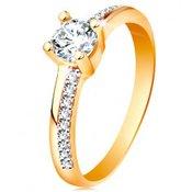585 zlatni prsten sa svjetlucavim linijama i prozirnim cirkonom u postolju