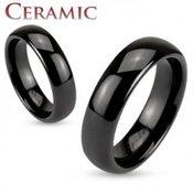 Crni keramički prsten, sjajna i glatka površina, 6 mm