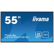 iiyama 55 3840 x 2160, 4K UHD AMVA3 panel, Fan-less, Speakers, Multiple In-/Outputs (VGA, DVI-D, HDMI(2x) and more), 350 cd/m2, 4000:1 Static Contrast, 8 ms, Landscape mode, Media Play USB Port, LAN (LE5540UHS-B1)