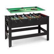 KLARFIT Spin 2 v 1, igralna miza, biljard, namizni nogomet, vrtljiv za 180 °, dodatki za igranje, črn (FIT4-KF Spin BK)