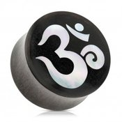 Sedlasti cepic za uho izraden od drveta crne boje, duhovni Yoga simbol OM - Širina: 22 mm