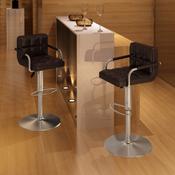 VIDAXL barski stol z naslonjalom za roke (2 kosa), rjav