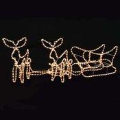vidaXL Božični okrasek v obliki 2 jelenov in sani LED 260x24x47 cm