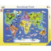 RAVENSBURGER puzzle - mapa sveta sa životinjama RA06641