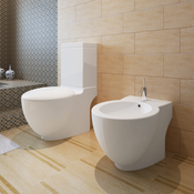 VIDAXL set-keramična wc školjka in bide