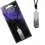 Ogrlica od uzice - sjajna metalna plocica, ugravirani plamen