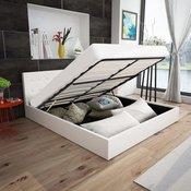Krevet s Madracem Hidraulikom i Spremištem 140x200cm Umjetna Koža (242393+241074)