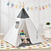 [en.casa]® Otroški šotor - Indijanski igralni šotor, skrivališče za otroke - 150 x 120 x 120 cm, sivo-bel
