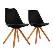 ONECONCEPT Onassis, crna, stolica ljuska , SET 2 komada, retro, tapacirung, drvo breze