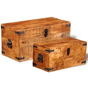 VIDAXL skrinja za shranjevanje iz grobega mango lesa, 2 kosa