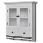 vidaXL Kuhinjski drveni ormaric sa staklenim vratima, Bijeli