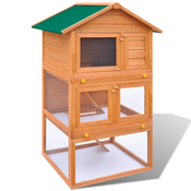 vidaXL Zunanji zajčnik Lesena hišica za zajce 3 nadstropja