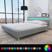 vidaXL Svetlo siva postelja lesena obložena za blagom 200 x 160 cm z LED