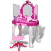 VIDAXL stoječa otroška toaletna mizica s tremi ogledali, svetilkami in zvokom