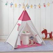 [en.casa]® Otroški šotor - Indijanski igralni šotor, skrivališče za otroke - 150 x 120 x 120 cm, roza-bel