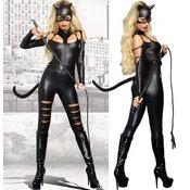 Kostum Catwoman Cat Fight, črn