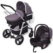 VIDAXL aluminijasti otroški voziček, siv-črn