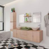 VIDAXL kopalnica + umivalnika + pipi, (11-delni komplet), bež