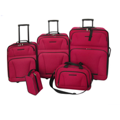 VIDAXL 5 delni potovalni set za prtljago, rdeč