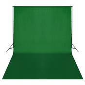 VIDAXL zeleno platno/ozadje za fotografiranje z ogrodjem 500x300 cm