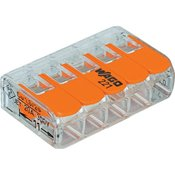 WAGO Povezovalna sponka, prilagodljiva: 0.14-4 mm toga: 0.2-4 mm št. polov: 5 WAGO 221-415 25 kos transparentna, oranžna