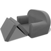 VIDAXL otroški raztegljivi kavč/počivalni stol, siv