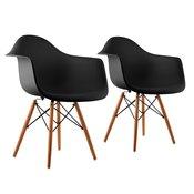 ONECONCEPT Bellagio, crna, stolica ljuska , SET 2 komada, retro, PP sjedalo, drvo breze