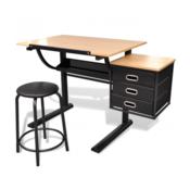 Radni stol s nagibom plocom i stolicom za crtanje