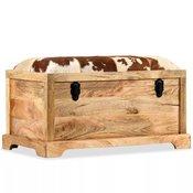 Klupa za pohranu od prave kože i masivnog drva manga 80 x 44 x 44 cm