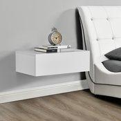 [en.casa]® 2x nočna omara s predaloma + set dizajnerskih stenskih polic (46x30x15cm), bela lakirana-mat